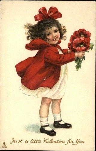 Valentine Tuck Modern Children Series 233 Little Girl Red Dress c1910 Postcard | eBay