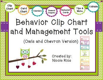 A tried and true way to help students, parents, and teachers keep track of behavior and choices. This download includes: 1)materials for Owls & Chevron Behavior Clip Chart (including directions, and editable files) 2) materials for Owls & Chevron Behavior Card Chart (including directions, and editable files) 3) behavior tracking tools 4)parent communication tools and 5) student incentives and management tips. Zoo Animals and Pirate themes also available in my store. $
