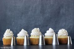 This Cupcake Piping Tutorial will show you the different types of piping tips you can use and how to make the perfect swirl! On Monday I shared my Perfect Vanilla Buttercream. It is whipped to perf...
