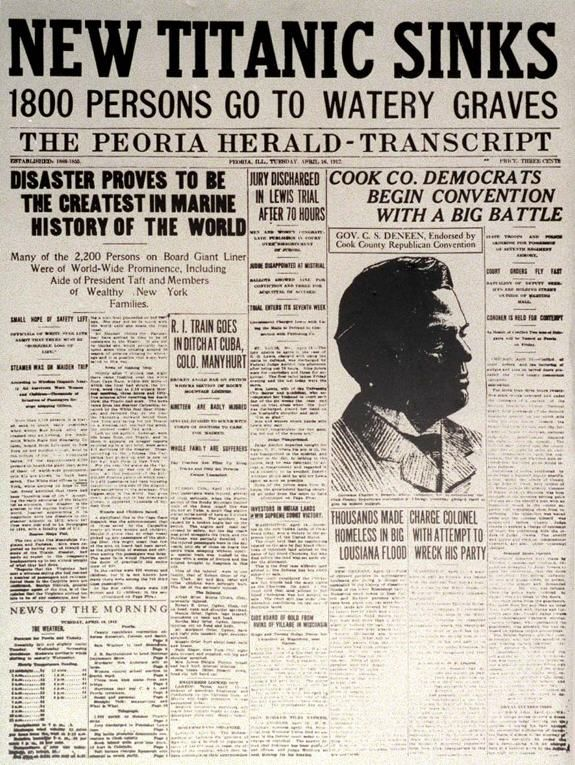 What Is A Headline | Newspaper Articles Reporting The Sinking Of The Titanic