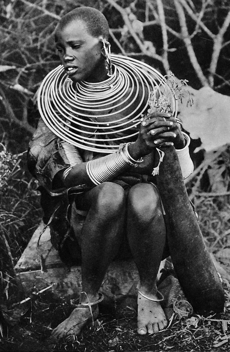 Africa | Masai woman.  Kenya.  ca. 1935 || Photographer unknown.