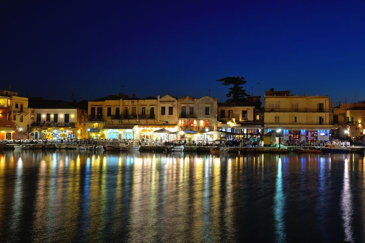 Night view of the old Venetian harbor of Rethymno