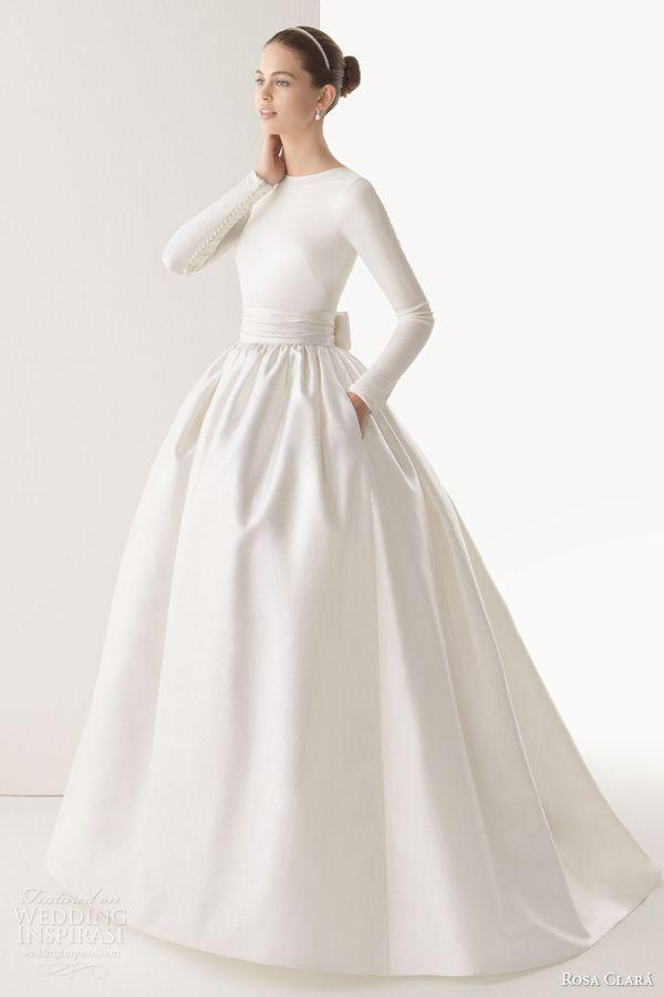 rosa clara 2014 corcega tulle silk organza ball gown wedding dress long sleeve top