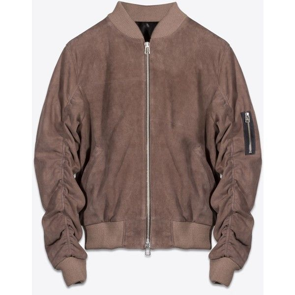 DECONSTRUCTED SUEDE LEATHER MA-1 BOMBER (3.505 DKK) ❤ liked on Polyvore featuring tops