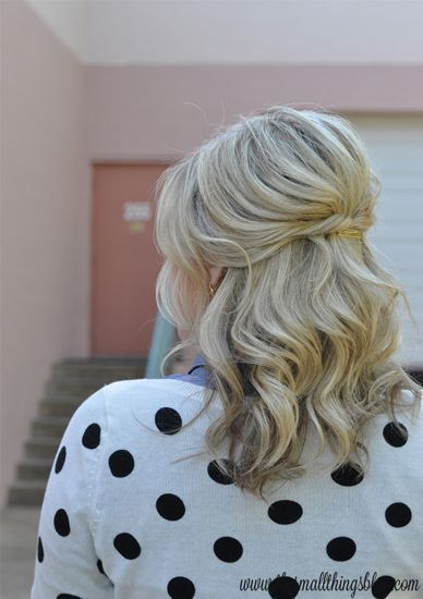 mid length wedding hair half up half down (to have hair clip in it)