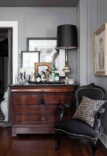 Black, gray, white, black chair, traditional wood dresser