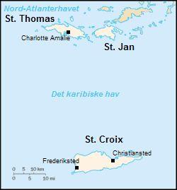Dansk Vestindien / De Danskvestindiske Øer -  En dansk koloni i Caribien bestående af øerne Sankt Thomas, Sankt Jan og Sankt Croix. → Det danske Vestindisk-guineisk Kompagni.