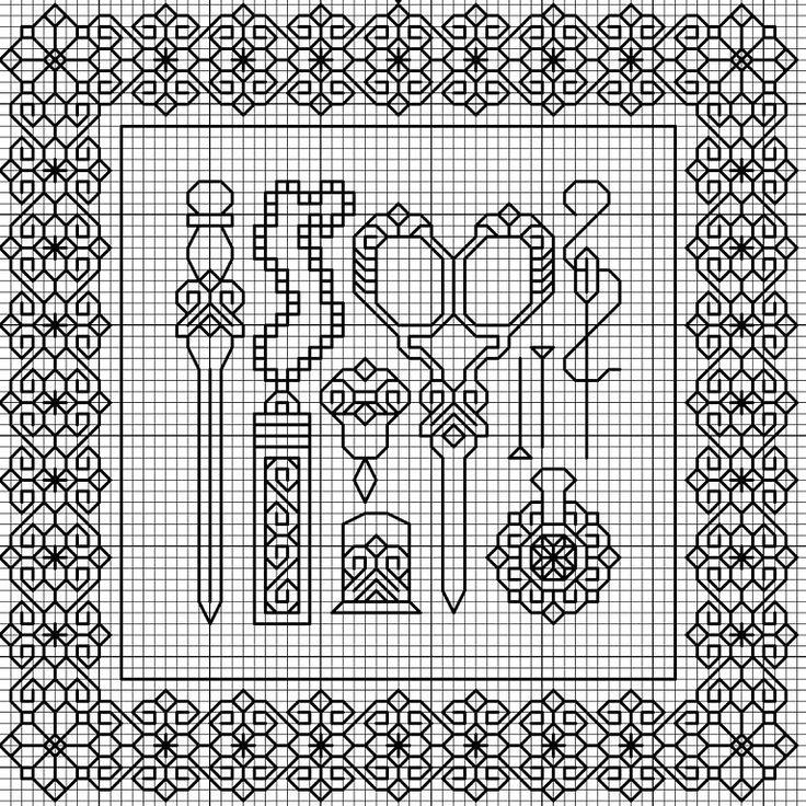 scissors & thimbels with border - BLACKWORK-esquemas | Aprender manualidades es facilisimo.com