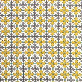Tissu en cretonne motif mosaique multicolore