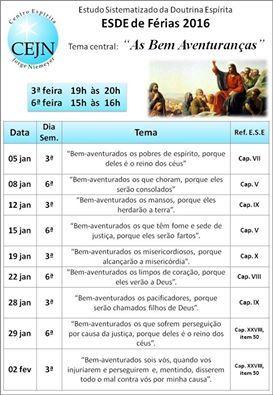 CE Jorge Niemeyer Convida para o Estudo Sistematizado da Doutrina Espírita - ESDE de Férias 2016 - Vila Isabel - RJ - http://www.agendaespiritabrasil.com.br/2015/12/26/17941/