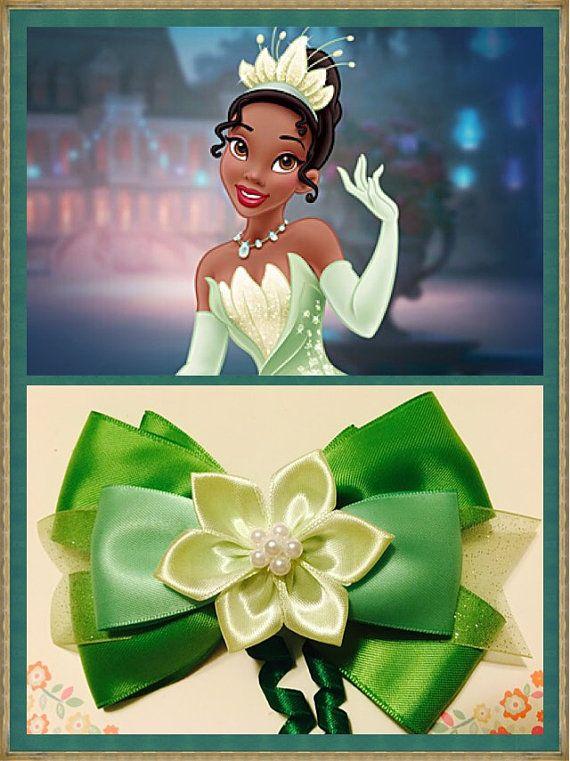 Disney princess Tiana inspired hair bow  by PamandJessCreations