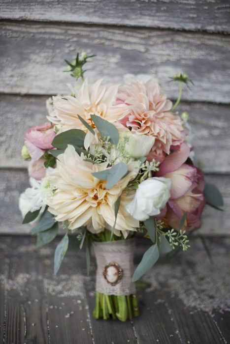 soft neutral wedding flowers with cameo