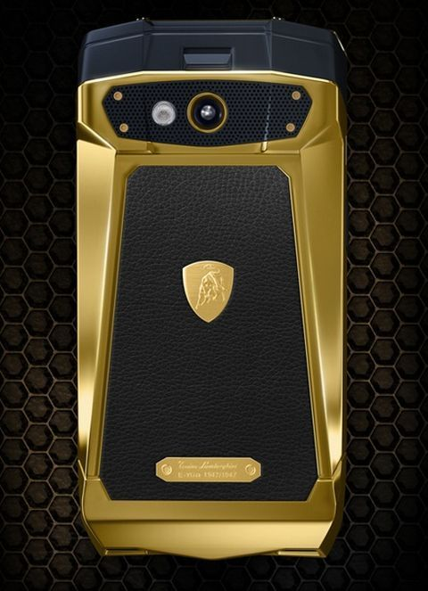 yellow dιaмond Gold overdose !Tonino Lamborghini has created a Lamborghini luxury phone called 'Antares'. The limited edition phone comes in delectable colours Red, White, Black, Brown, Blue on leather. Steel is the key metal used to mould the phone. Price of Lamborghini Luxury Phone with Android 4.2 is $4000.