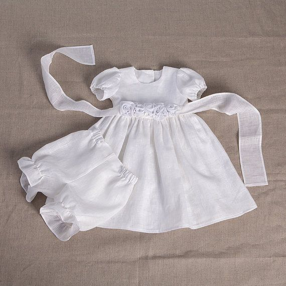 Baby girl baptism christening linen dress, baby special occasion dress, wedding party flower girl dress, girl blessing gown, white, kids eco on Etsy, $105.00