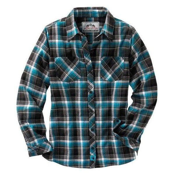 Women's Cabin Retreat Plaid Flannel Shirt | Legendary Whitetails ($30) ❤ liked on Polyvore featuring tops, shirts, black shirt, plaid top, black plaid shirt, loose black shirt and shirts & tops