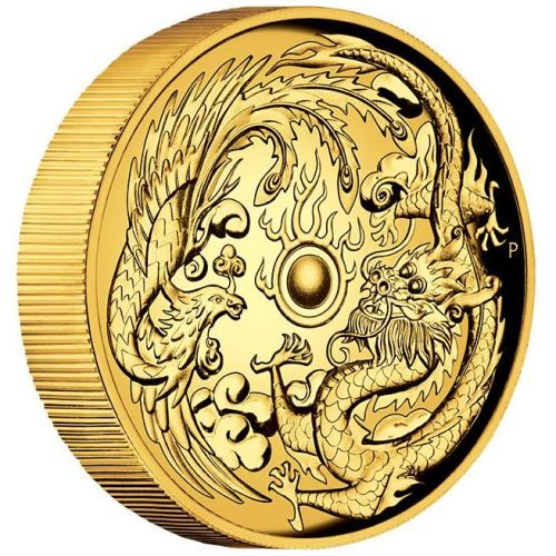 Rich in Chinese symbolism, this stunning release portrays two revered mythical creatures | Dragon and Phoenix 2017 2oz High Relief Gold Proof Coin | The Perth Mint