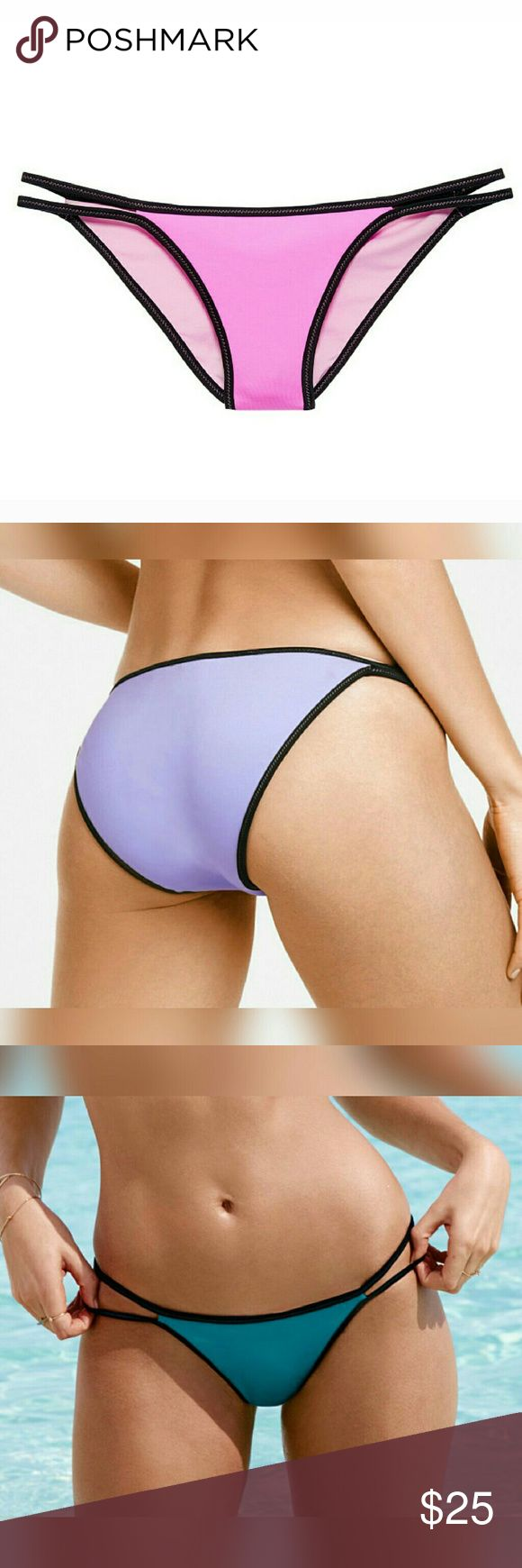 vs - surf bikini bottom victoria's secret surf bikini bottom in the color 'beach orchid' as shown in the first picture. the second and third pictures are to show 'FIT ONLY'.  the color for sale is in the first picture and is 'BEACH ORCHID'.  🚫no trades  🚫no holds Victoria's Secret Swim Bikinis