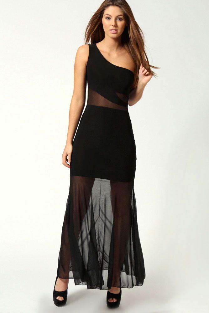 Mesh Inset Turtleneck Maxi Dress