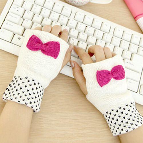 1 par lindo del Bowknot del corazón invierno brazo para el teléfono Touch Glove guantes sin dedos Warm punto de ganchillo manopla de punto muñeca envío gratis(China (Mainland))