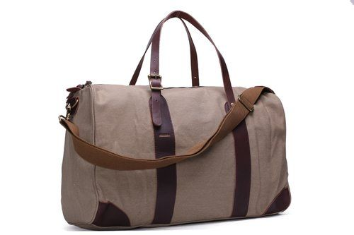Image of Waxed Canvas Travel Bag Duffle Bag Holdall Weekender Bag with Leather Trim YD2095