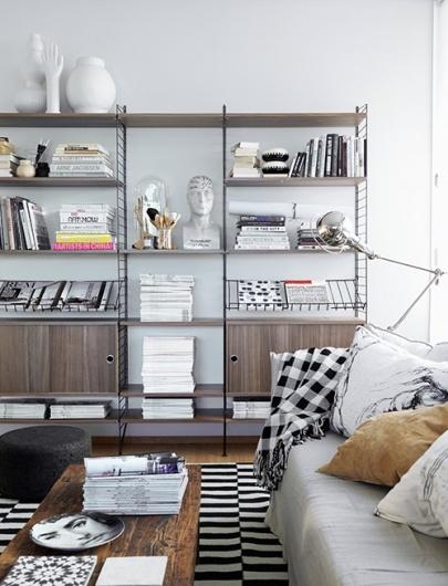 living room: Interior Design, Decor, Living Rooms, Idea, Inspiration, Livingroom, Shelves, Shelving, String System