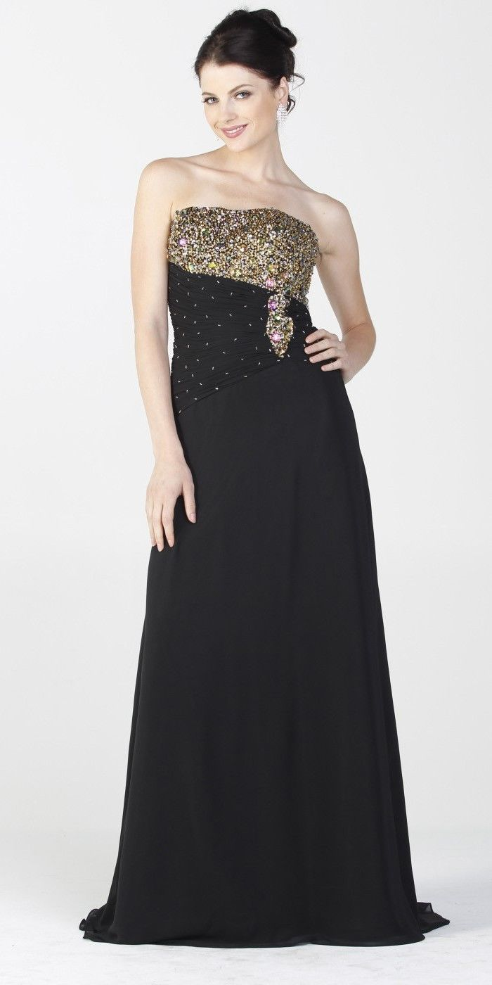 Dinner Party Dress Part - 49: ON SPECIAL LIMITED STOCK - Black Gala Dinner Party Gown Gold Beads  Strapless Bolero Jacket