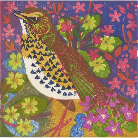 """Song thrush"" by Matt Underwood (woodblock print)"