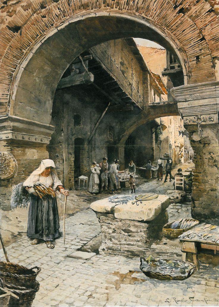 Ettore Roesler Franz, (Italian, 1865-1907):  Il Portico d'Ottavia guardando a sinistra, 1887