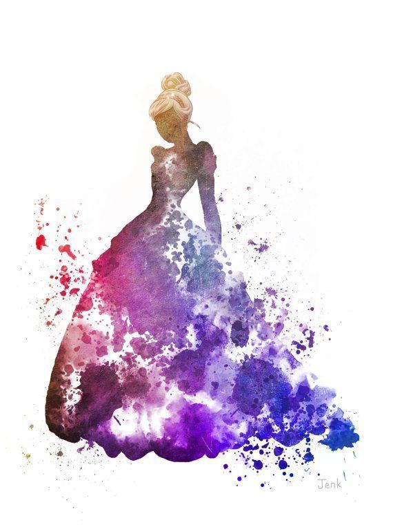 "Cinderella ART PRINT 10 x 8"" illustration, Disney, Princess, Mixed Media, Home Decor, Nursery, Kid, Pink"