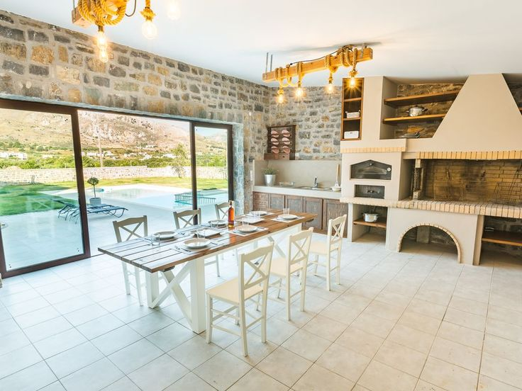 Foinikas villa rental - BBQ facilities and diving area, next to the pool terrace!
