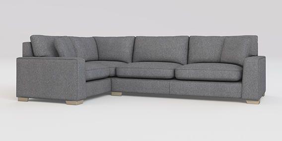 Buy Sonoma III Corner sofa - left hand (4 seats) Tweedy Blend Mid Grey Square Angle - Light from the Next UK online shop