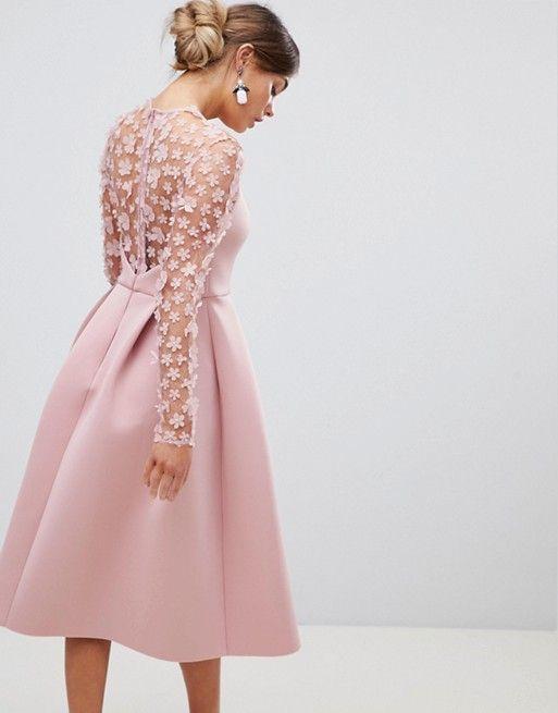 c1b1a532e0d DESIGN 3D floral lace bandeau scuba prom midi dress in 2019 ...
