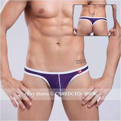 1pcs Low Rise Purple Sexy Men\'s Breath Hole Underwear U Pouch Briefs Thongs XL