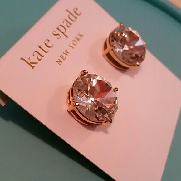 Kate Spade gold and clear crystal earrings Authentic Kate Spade clear crystal…