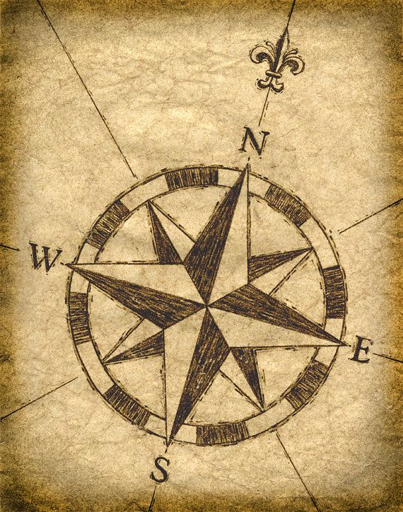 Compass Rose Artwork, Old Maps, Treasure Maps, Compass, Sailing, Parchement Paper, Sepia Prints, Vintage Nautical Design, Nautical Art Print
