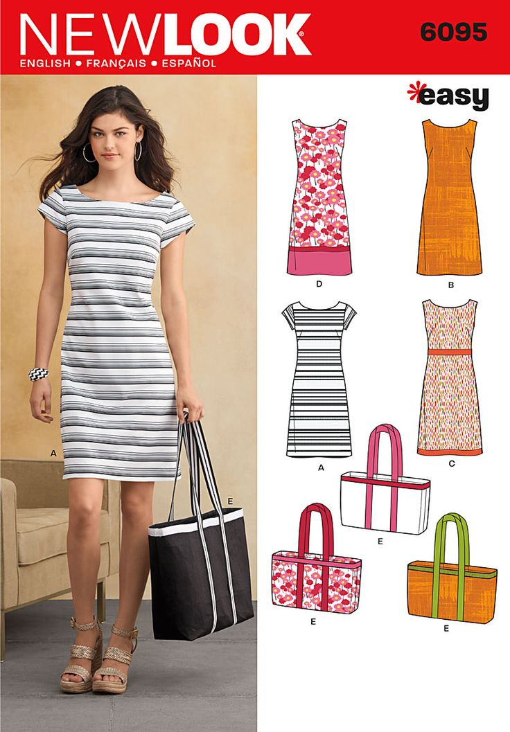 6095 Misses' Dresses  New Look easy sewing pattern. Misses' sleeveless or cap-sleeved shift dress with trim variations and tote bag.