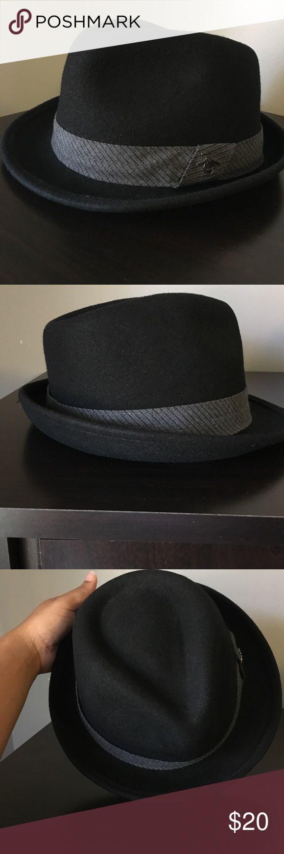 Men's fedora Original Penguin Brand Black Fedora with grey band. In great condition Original Penguin Accessories Hats