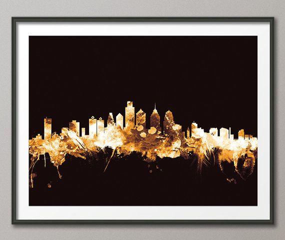 Philadelphia Skyline Philadelphia Pennsylvania by artPause on Etsy