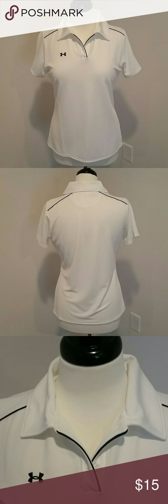 UNDER ARMOR WHITE WOMEN GOLF SHIRT UNDER ARMOR WHITE SHORT SLEEVE GOLF SHIRT.  GREAT CONDITION.  NO YELLOWING UNDER ARMS OR NECK. Under Armour Tops Tees - Short Sleeve