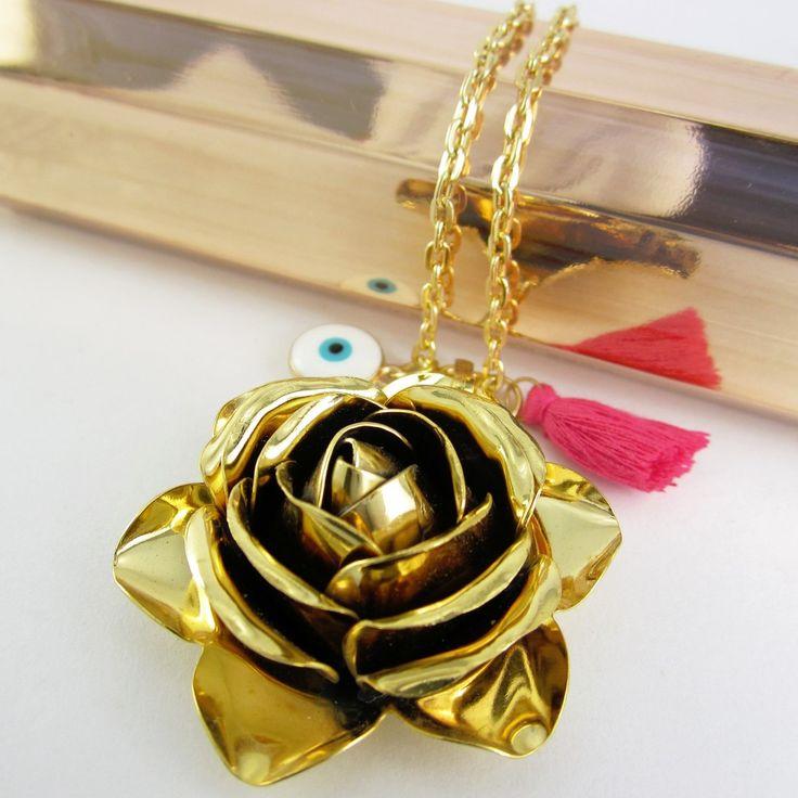 Collares mujer collar cadena ba o oro dije rosa bronce for Accesorios bano cristal