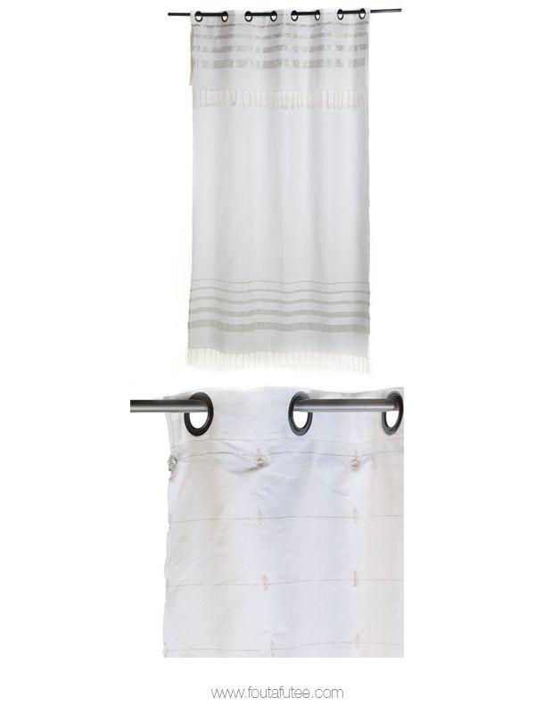 Rideau prêt-à-poser et modulable en hauteur de 2.10 à 2.40m ou de 2.50 à 2.80m, fond blanc et rayures argentées. Collection Istanbul IS2 Fouta Futée