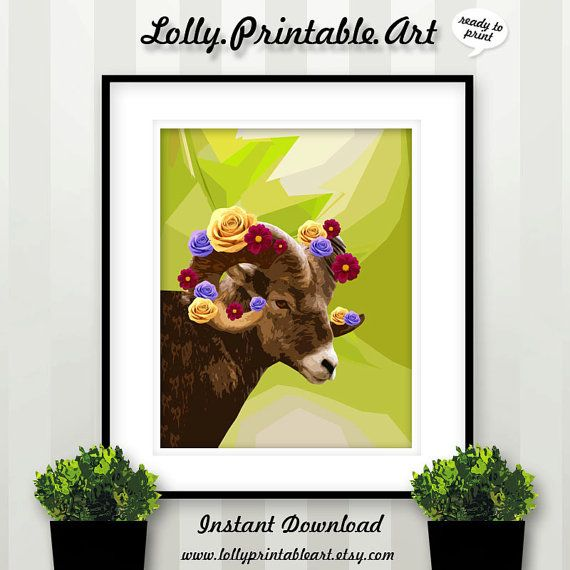 Unique Printable Art (Sheep Flowers Roses) by LollyPrintableArt