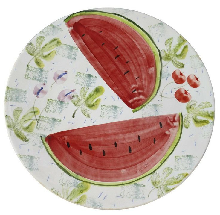 Platter motifs by a mansion -   Created by Eleni Kanellopoulou and inspired by the interior decoration of a reception room from an 18th century mansion house in Siatista.      Hand-painted ceramic     Dimensions: Diameter 39 cm