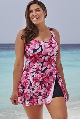 Swimdress - Swim 365 Honolulu Pink A-Line Swimdress