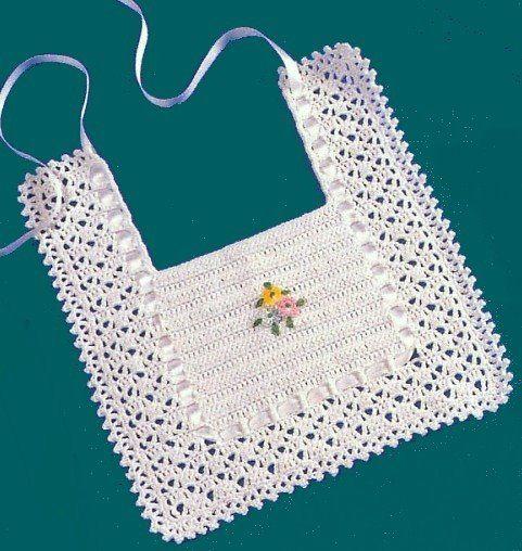 White Baby Bib free crochet graph pattern