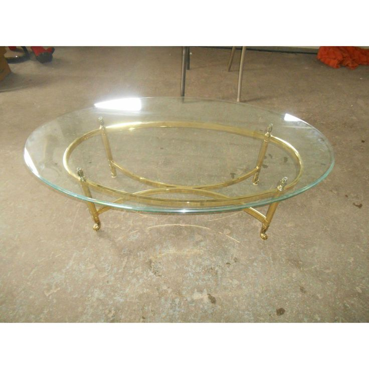 Great Good Hollywood Regency La Barge Style Brass U Oval Glass Coffee Table With  Oval Glass Coffee Table.