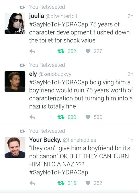How the hell is Cap being queer worse than him being a Nazi?!...#SayNoToHydraCap