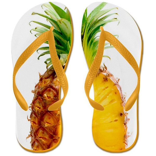 White Juicy Pineapple Flip-Flop ❤ liked on Polyvore featuring shoes, sandals, flip flops, tropical, pineapple shoes, beach footwear, white sandals, beach flip flops and beach sandals