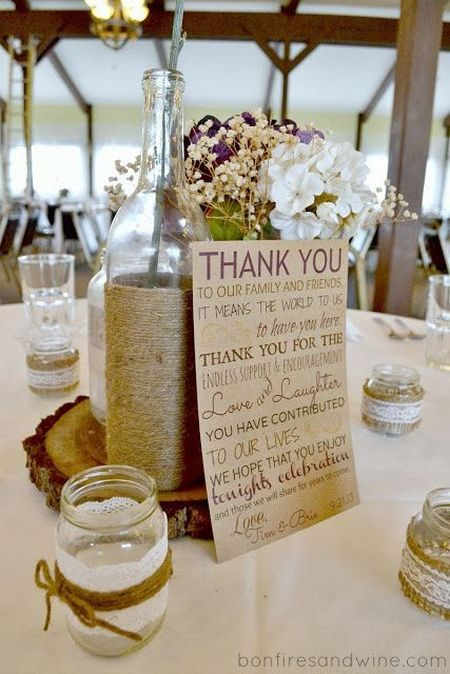Include a heartfelt thank you to your DIY candle wedding favor display.  See more DIY wedding favor ideas at one-stop-party-ideas.com