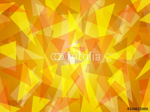 Abstract triangle shapes randomly layered, in fresh sunny yellow shades with bright center, graphic art, vector illustration in modern contemporary art design. Suitable as background texture pattern.